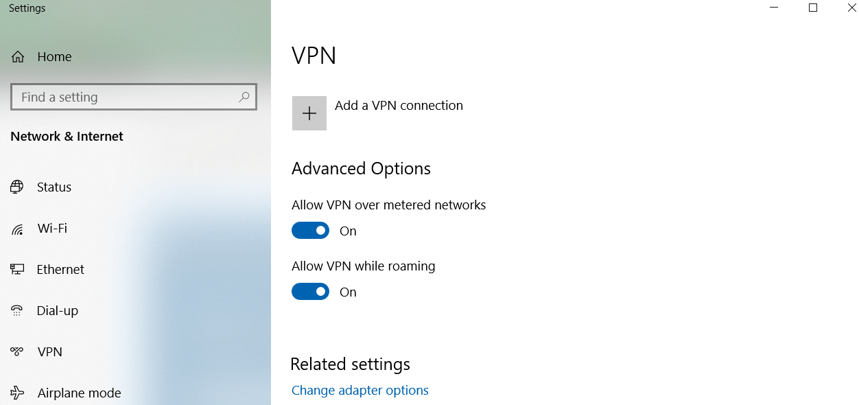VPN connection setting